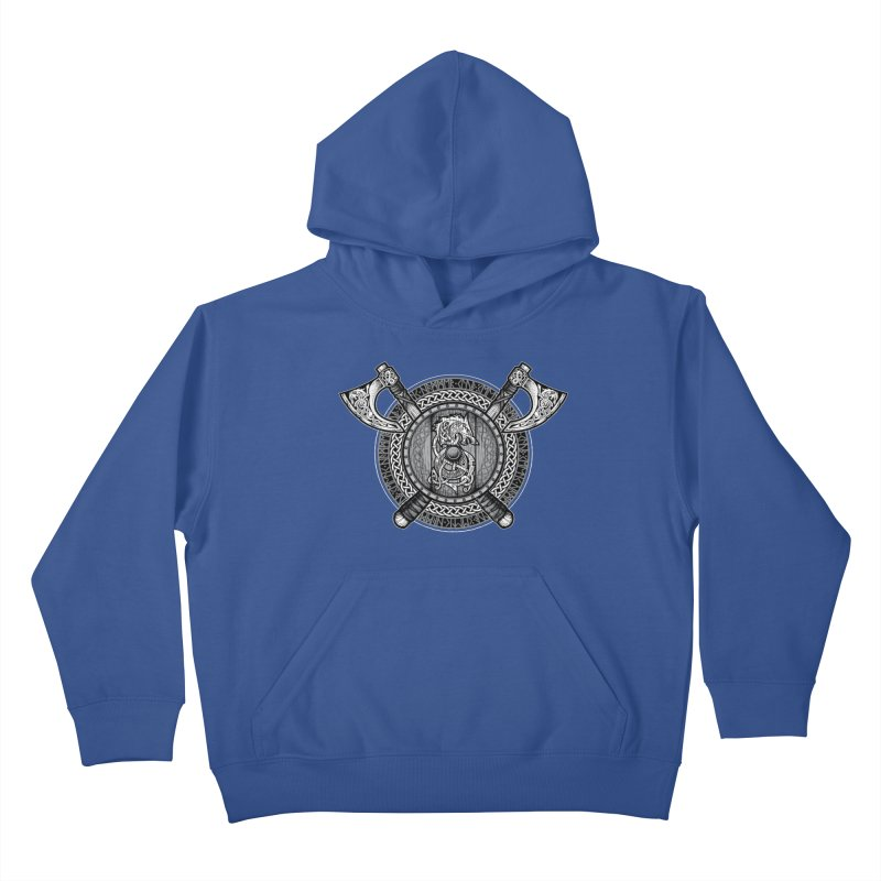 Fenrir Viking Shield (Grayscale) Kids Pullover Hoody by Celtic Hammer Club
