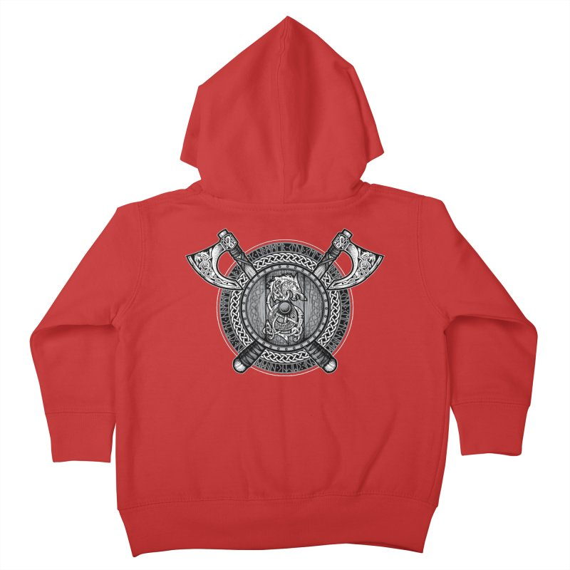 Fenrir Viking Shield (Grayscale) Kids Toddler Zip-Up Hoody by Celtic Hammer Club