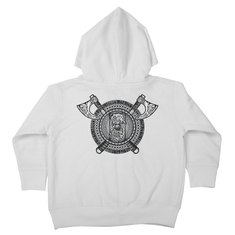 Fenrir Viking Shield (Grayscale) Kids Toddler Zip-Up Hoody by Celtic Hammer Club Apparel
