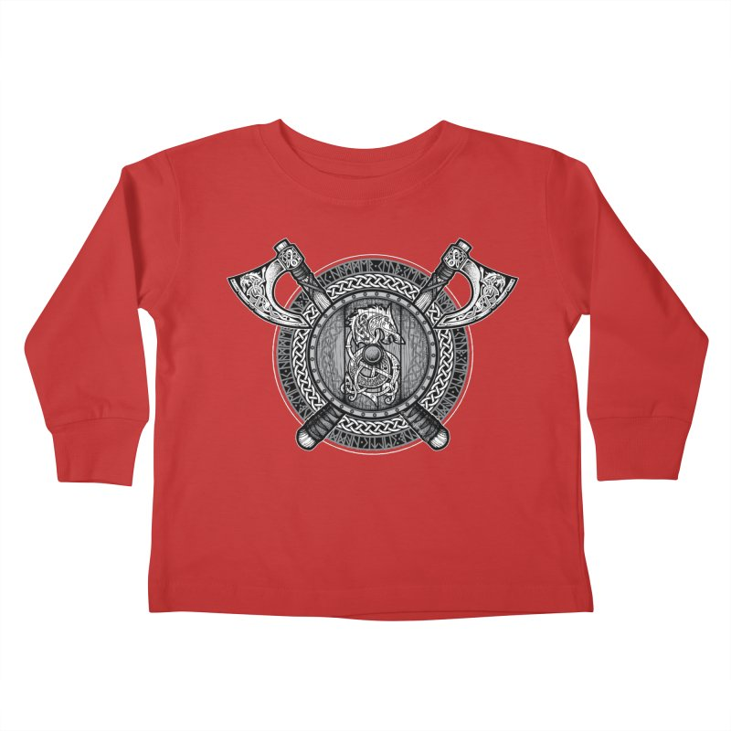 Fenrir Viking Shield (Grayscale) Kids Toddler Longsleeve T-Shirt by Celtic Hammer Club Apparel
