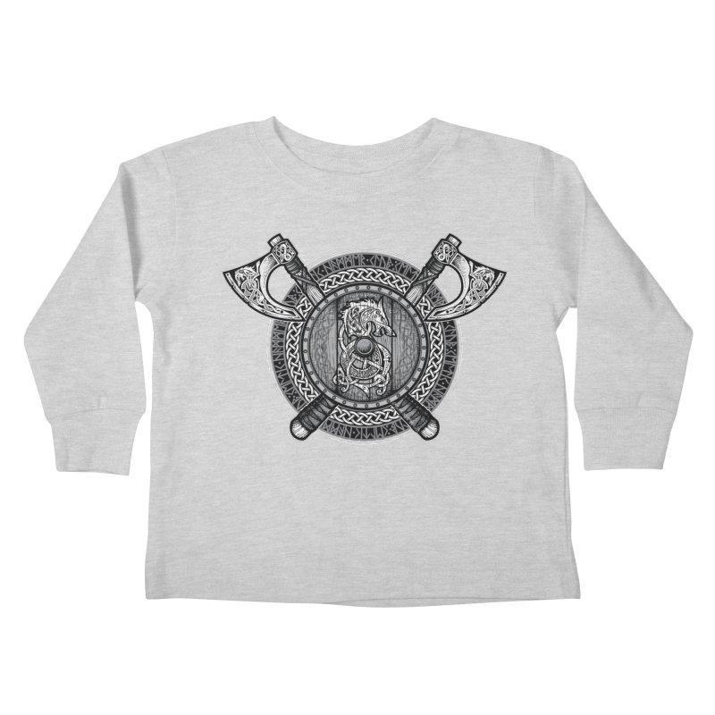 Fenrir Viking Shield (Grayscale) Kids Toddler Longsleeve T-Shirt by Celtic Hammer Club Apparel
