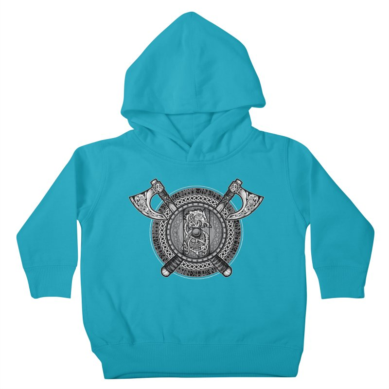 Fenrir Viking Shield (Grayscale) Kids Toddler Pullover Hoody by Celtic Hammer Club Apparel