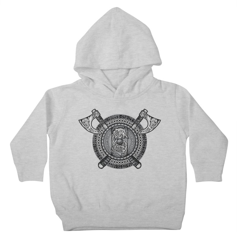 Fenrir Viking Shield (Grayscale) Kids Toddler Pullover Hoody by Celtic Hammer Club