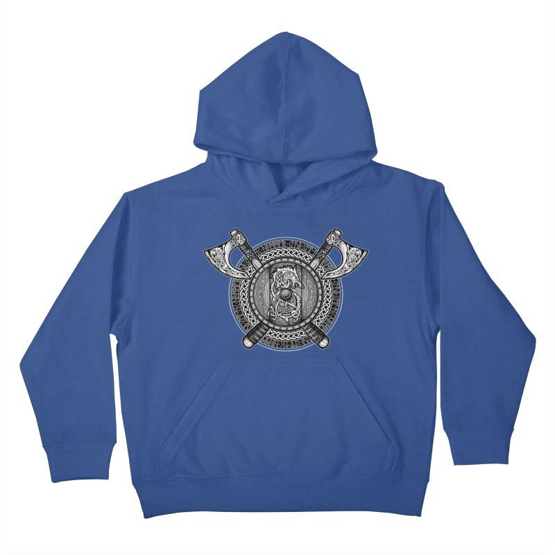 Fenrir Viking Shield (Grayscale) Kids Pullover Hoody by Celtic Hammer Club