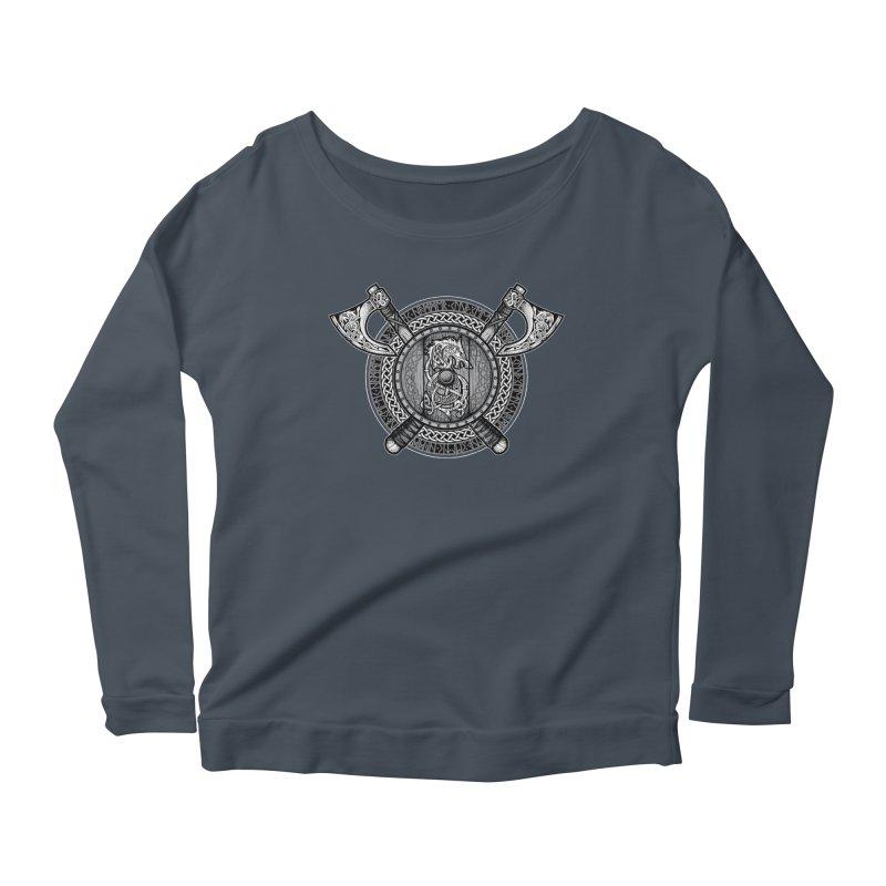 Fenrir Viking Shield (Grayscale) Women's Scoop Neck Longsleeve T-Shirt by Celtic Hammer Club