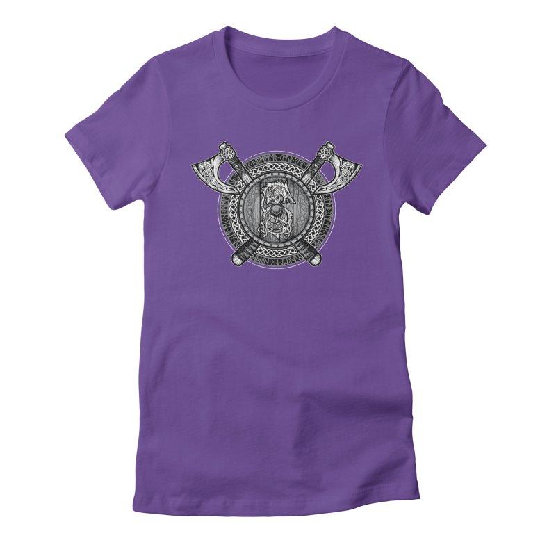 Fenrir Viking Shield (Grayscale) Women's T-Shirt by Celtic Hammer Club