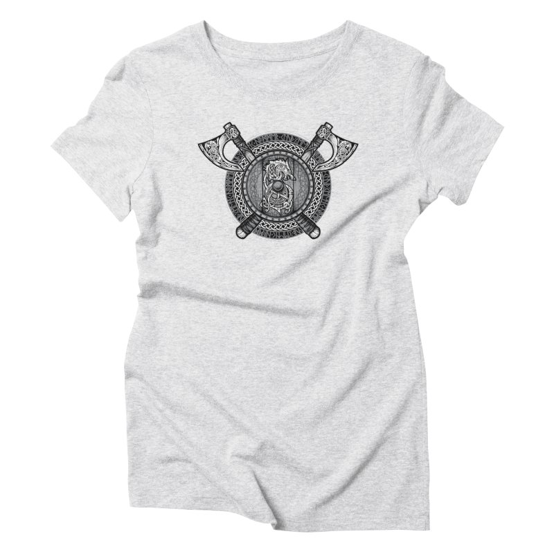 Fenrir Viking Shield (Grayscale) Women's Triblend T-Shirt by Celtic Hammer Club
