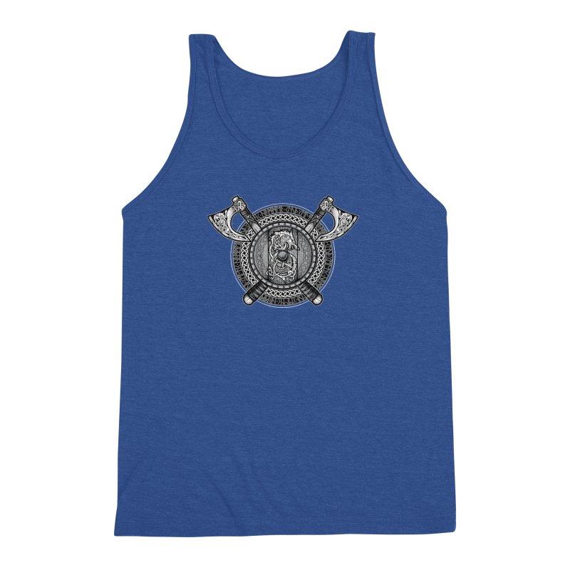 Fenrir Viking Shield (Grayscale) Men's Triblend Tank by Celtic Hammer Club Apparel