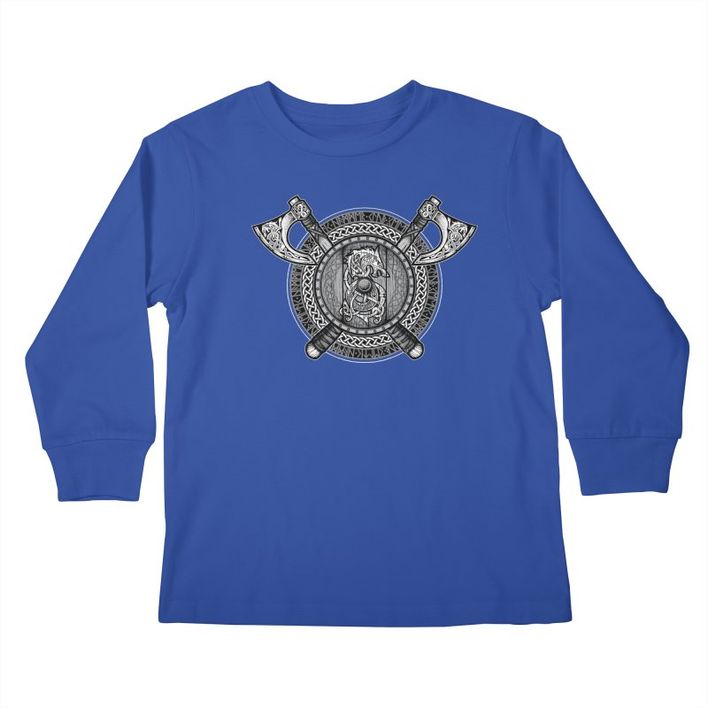 Fenrir Viking Shield (Grayscale) Kids Longsleeve T-Shirt by Celtic Hammer Club Apparel
