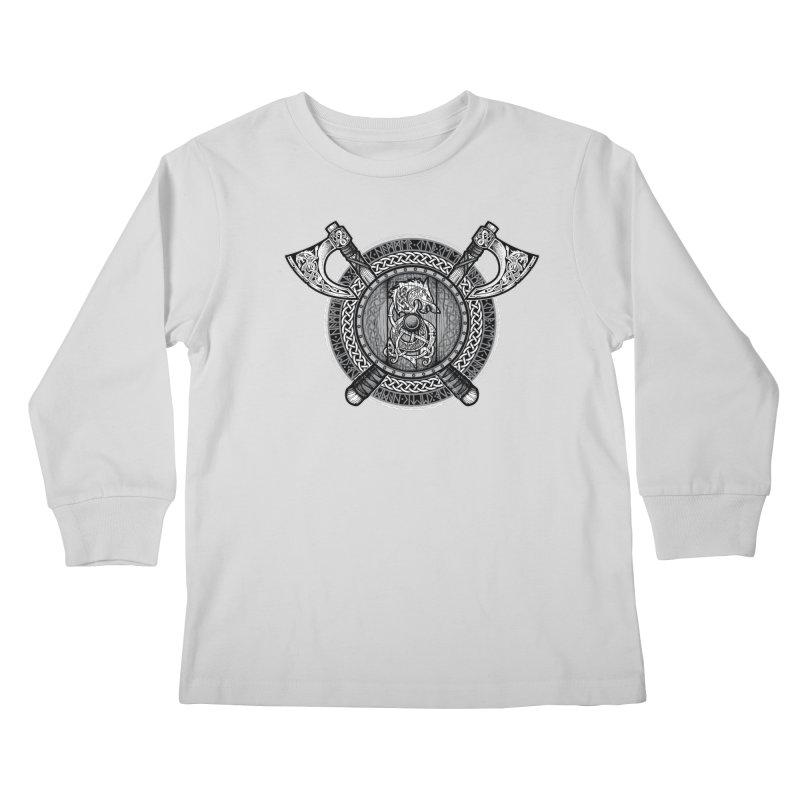 Fenrir Viking Shield (Grayscale) Kids Longsleeve T-Shirt by Celtic Hammer Club