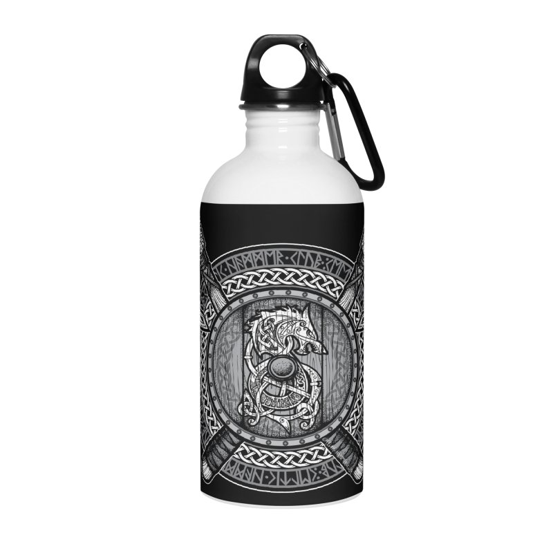 Fenrir Viking Shield (Grayscale) Accessories Water Bottle by Celtic Hammer Club Apparel