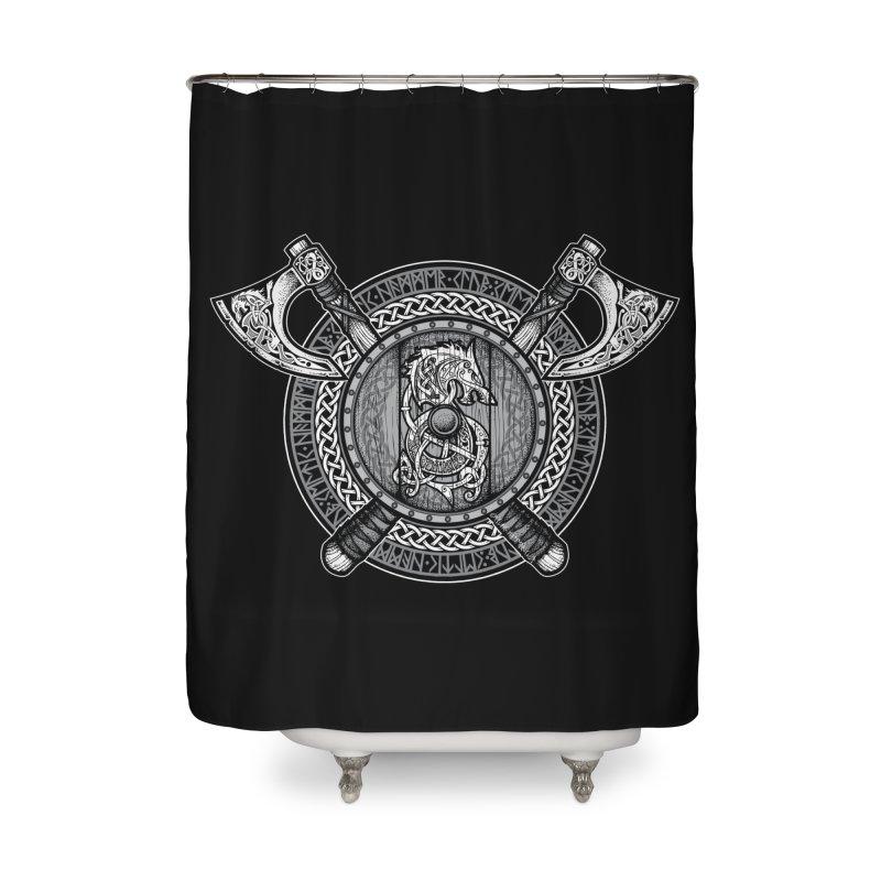 Fenrir Viking Shield (Grayscale) Home Shower Curtain by Celtic Hammer Club Apparel
