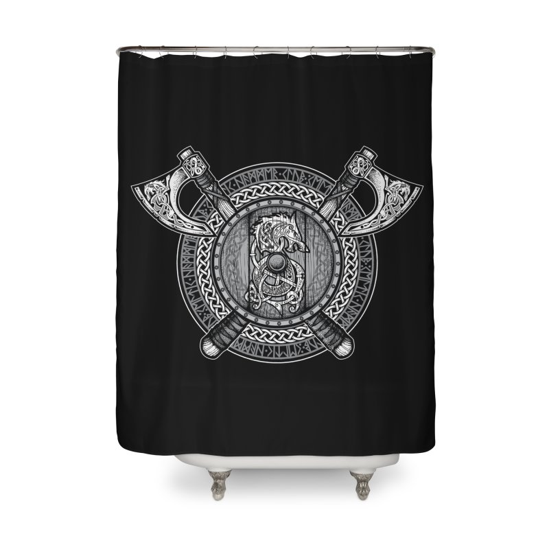 Fenrir Viking Shield (Grayscale) Home Shower Curtain by Celtic Hammer Club Apparel