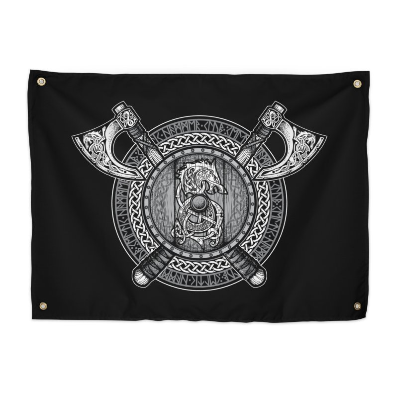 Fenrir Viking Shield (Grayscale) Home Tapestry by Celtic Hammer Club Apparel