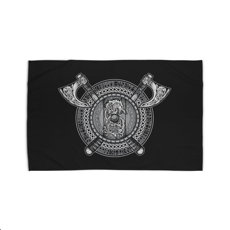 Fenrir Viking Shield (Grayscale) Home Rug by Celtic Hammer Club