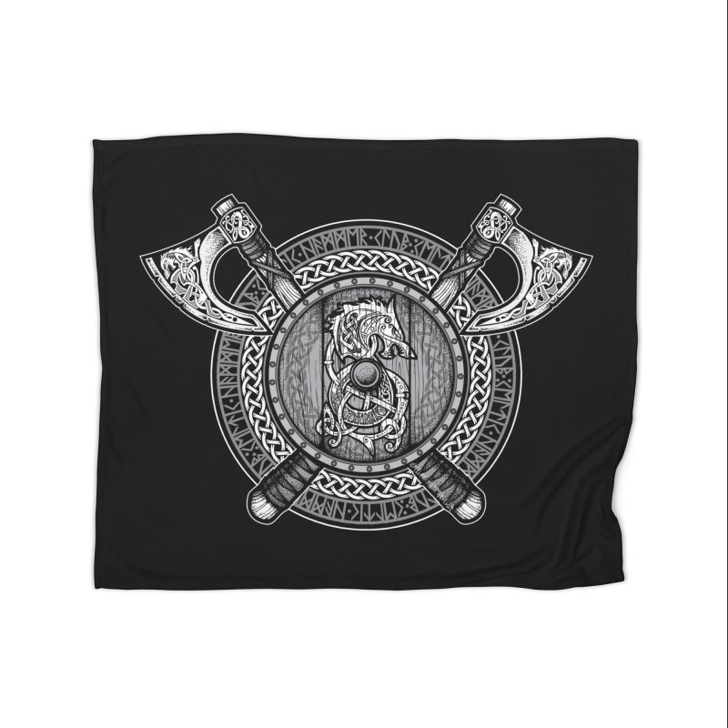 Fenrir Viking Shield (Grayscale) Home Blanket by Celtic Hammer Club Apparel