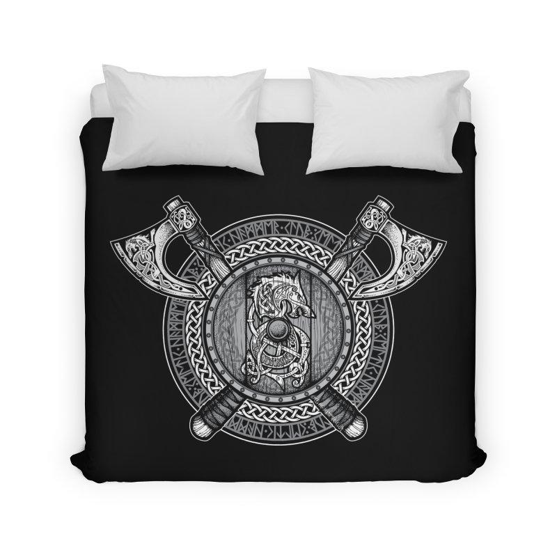Fenrir Viking Shield (Grayscale) Home Duvet by Celtic Hammer Club Apparel