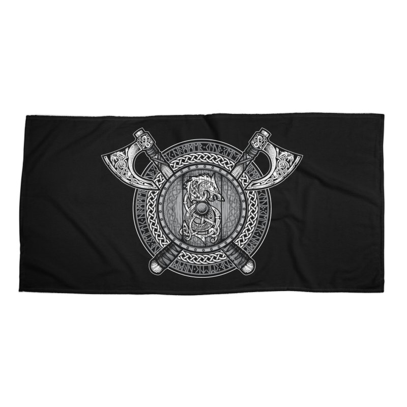 Fenrir Viking Shield (Grayscale) Accessories Beach Towel by Celtic Hammer Club Apparel