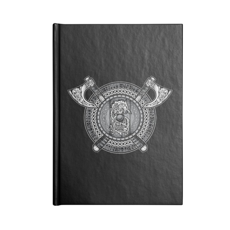 Fenrir Viking Shield (Grayscale) Accessories Notebook by Celtic Hammer Club Apparel
