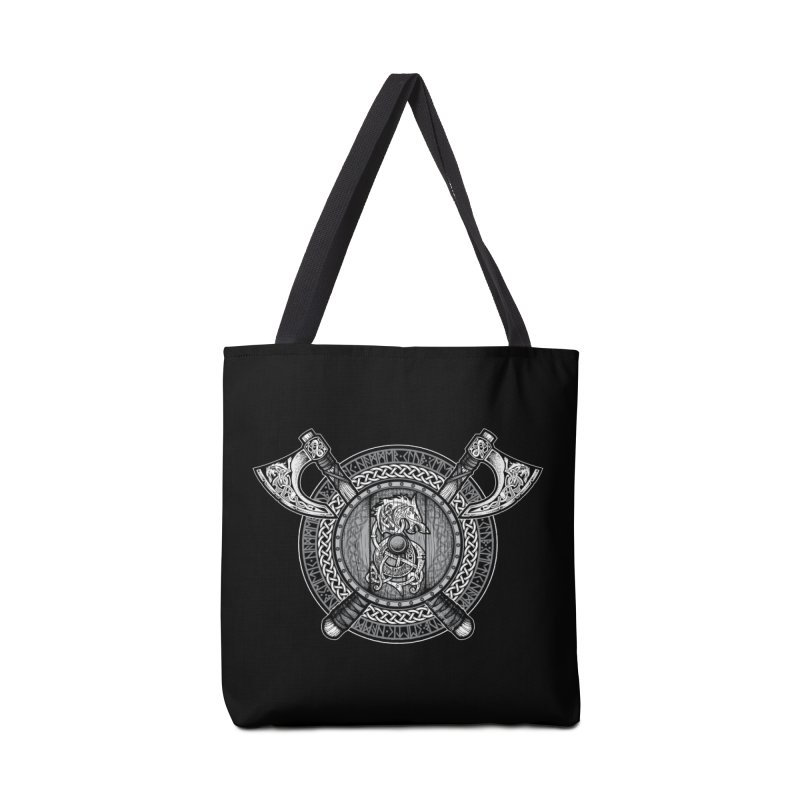 Fenrir Viking Shield (Grayscale) Accessories Bag by Celtic Hammer Club Apparel