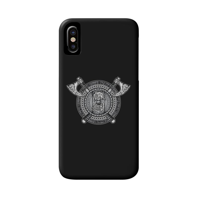 Fenrir Viking Shield (Grayscale) Accessories Phone Case by Celtic Hammer Club Apparel