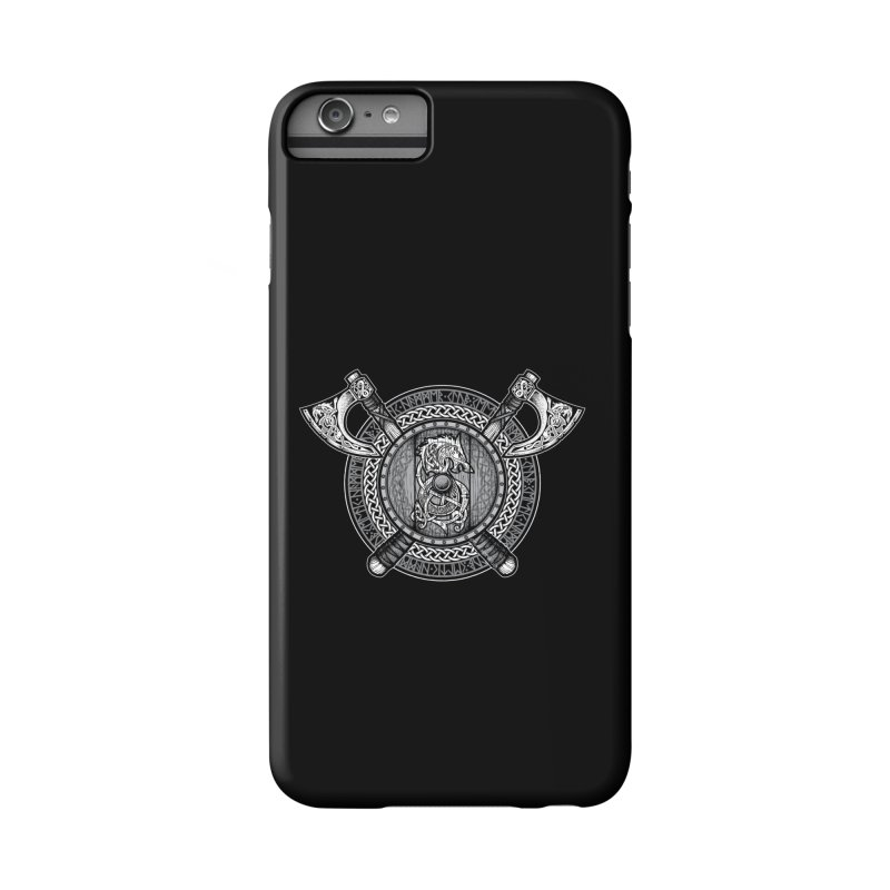 Fenrir Viking Shield (Grayscale) Accessories Phone Case by Celtic Hammer Club