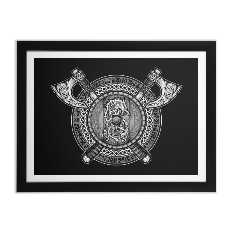 Fenrir Viking Shield (Grayscale) Home Framed Fine Art Print by Celtic Hammer Club Apparel