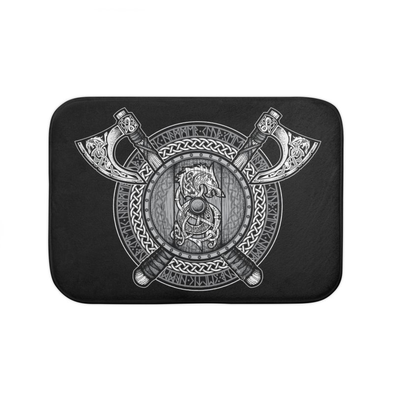 Fenrir Viking Shield (Grayscale) Home Bath Mat by Celtic Hammer Club