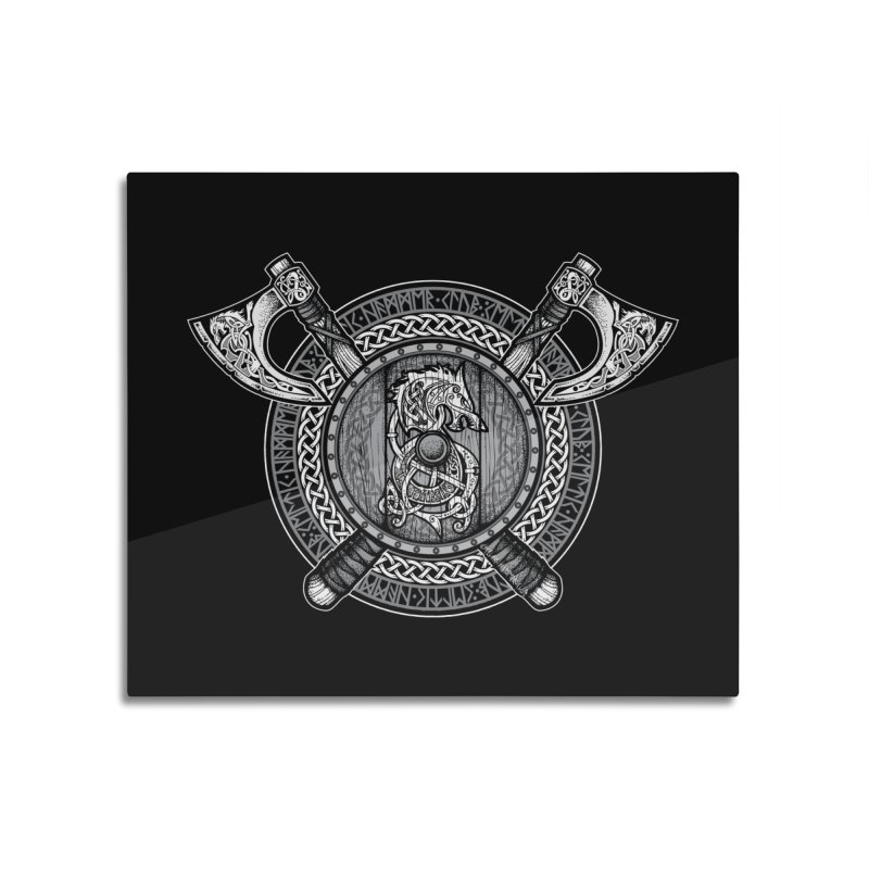 Fenrir Viking Shield (Grayscale) Home Mounted Aluminum Print by Celtic Hammer Club