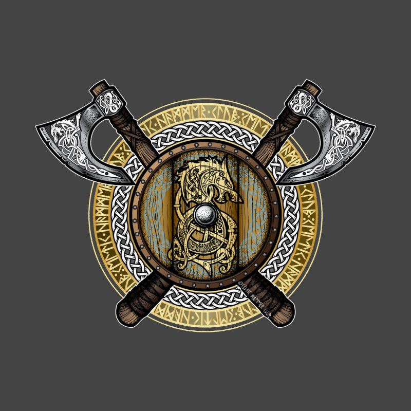Fenrir Viking Shield (Full Color) Kids T-Shirt by Celtic Hammer Club