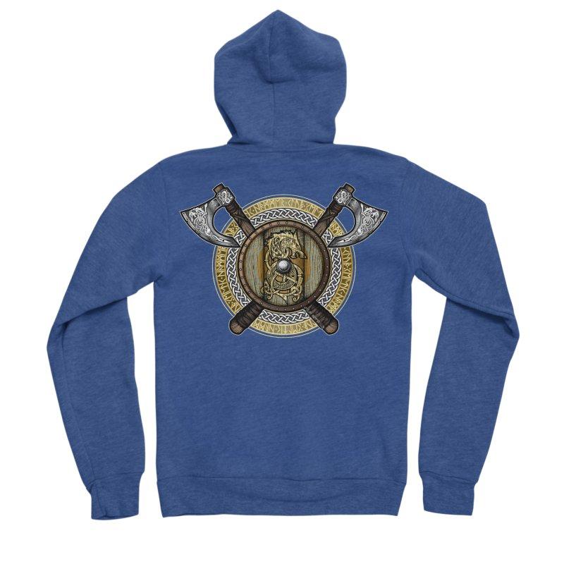 Fenrir Viking Shield (Full Color) Women's Sponge Fleece Zip-Up Hoody by Celtic Hammer Club Apparel