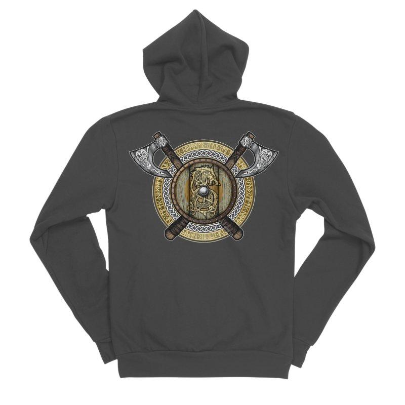 Fenrir Viking Shield (Full Color) Men's Sponge Fleece Zip-Up Hoody by Celtic Hammer Club