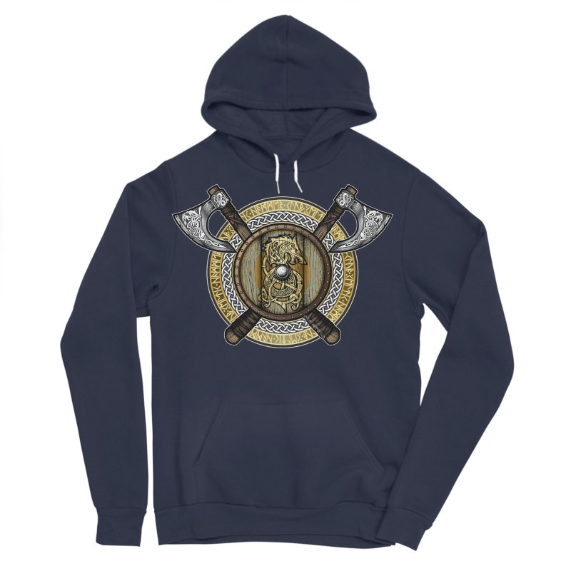 Fenrir Viking Shield (Full Color) Men's Sponge Fleece Pullover Hoody by Celtic Hammer Club