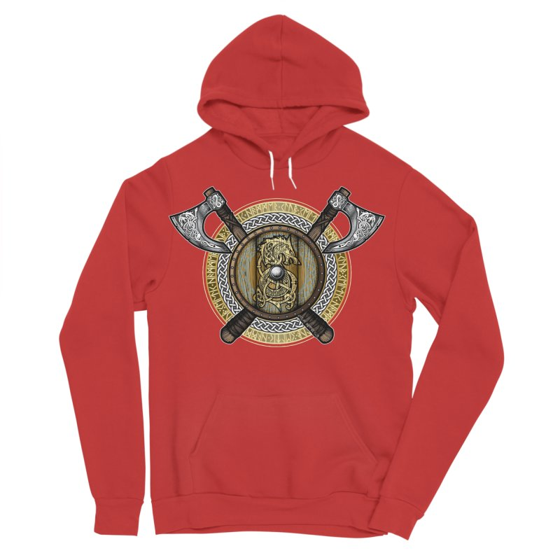 Fenrir Viking Shield (Full Color) Women's Sponge Fleece Pullover Hoody by Celtic Hammer Club Apparel