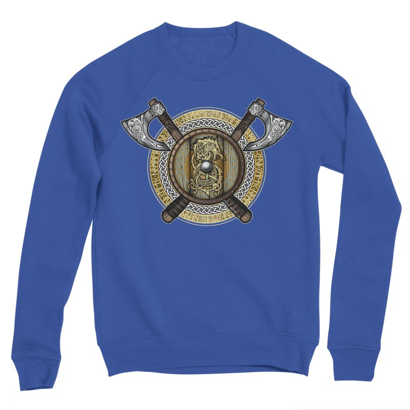Fenrir Viking Shield (Full Color) Men's Sponge Fleece Sweatshirt by Celtic Hammer Club