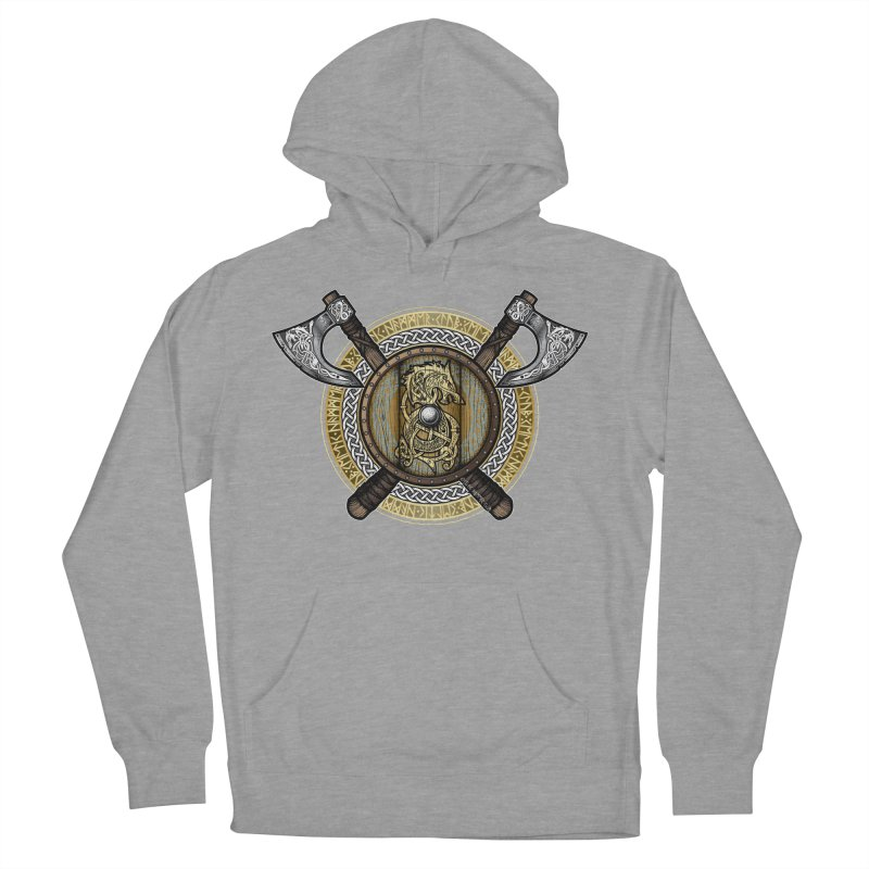 Fenrir Viking Shield (Full Color) Men's French Terry Pullover Hoody by Celtic Hammer Club