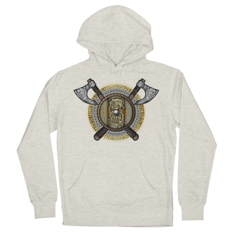 Fenrir Viking Shield (Full Color) Men's French Terry Pullover Hoody by Celtic Hammer Club Apparel