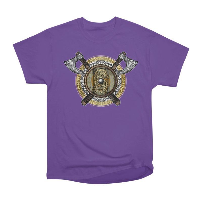 Fenrir Viking Shield (Full Color) Women's Heavyweight Unisex T-Shirt by Celtic Hammer Club Apparel