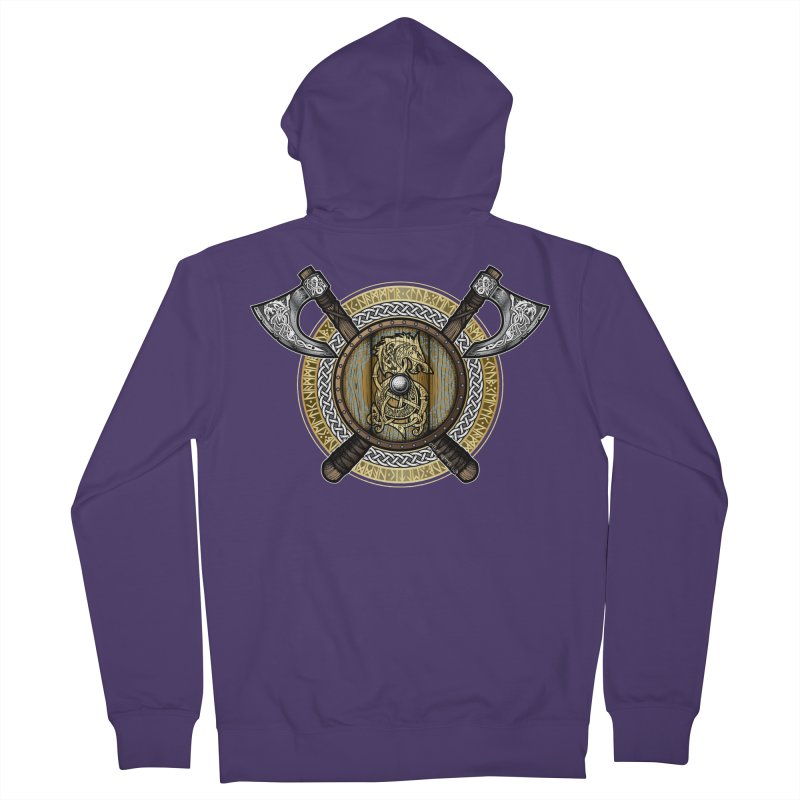 Fenrir Viking Shield (Full Color) Women's French Terry Zip-Up Hoody by Celtic Hammer Club Apparel