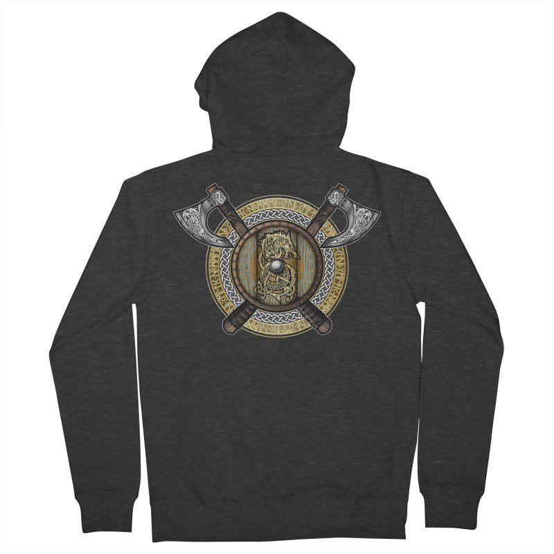 Fenrir Viking Shield (Full Color) Men's French Terry Zip-Up Hoody by Celtic Hammer Club
