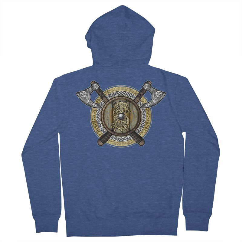 Fenrir Viking Shield (Full Color) Men's French Terry Zip-Up Hoody by Celtic Hammer Club Apparel
