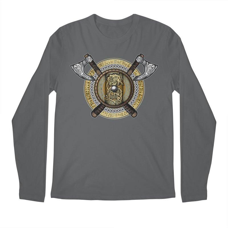 Fenrir Viking Shield (Full Color) Men's Longsleeve T-Shirt by Celtic Hammer Club