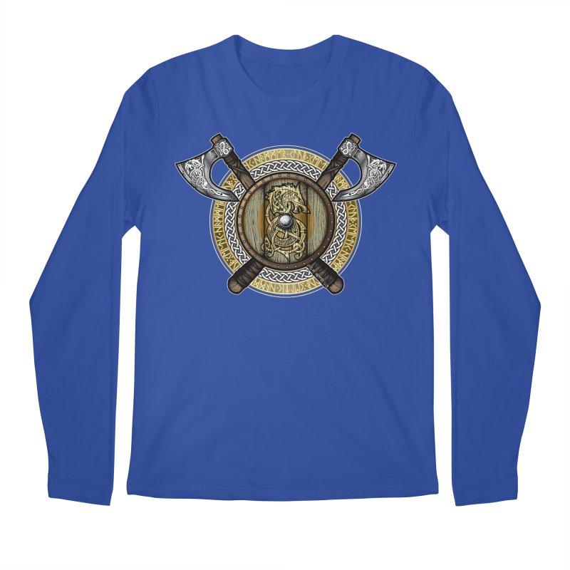 Fenrir Viking Shield (Full Color) Men's Regular Longsleeve T-Shirt by Celtic Hammer Club
