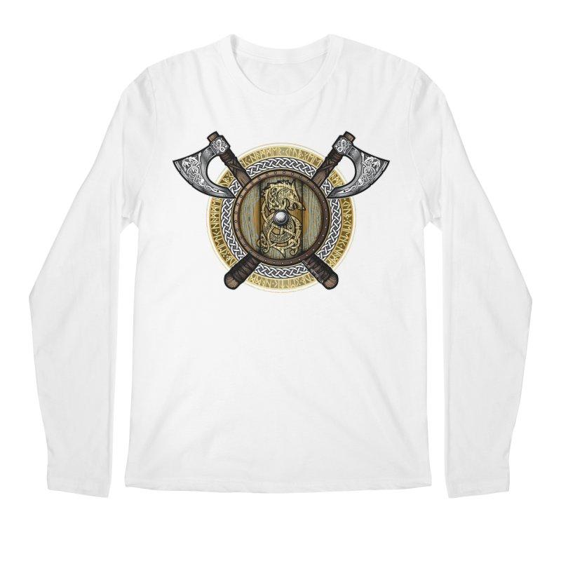 Fenrir Viking Shield (Full Color) Men's Regular Longsleeve T-Shirt by Celtic Hammer Club Apparel