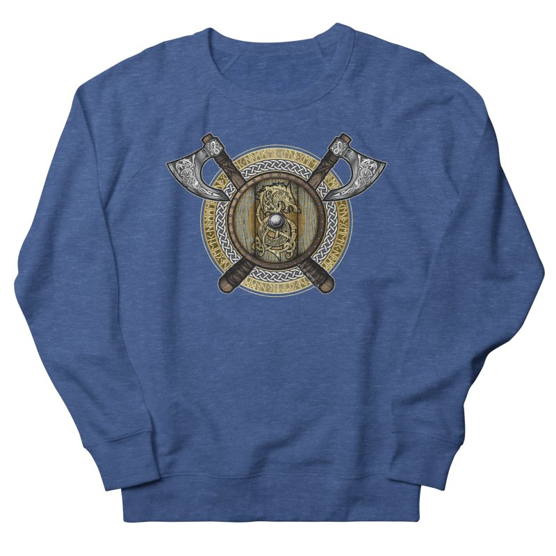 Fenrir Viking Shield (Full Color) Women's French Terry Sweatshirt by Celtic Hammer Club Apparel