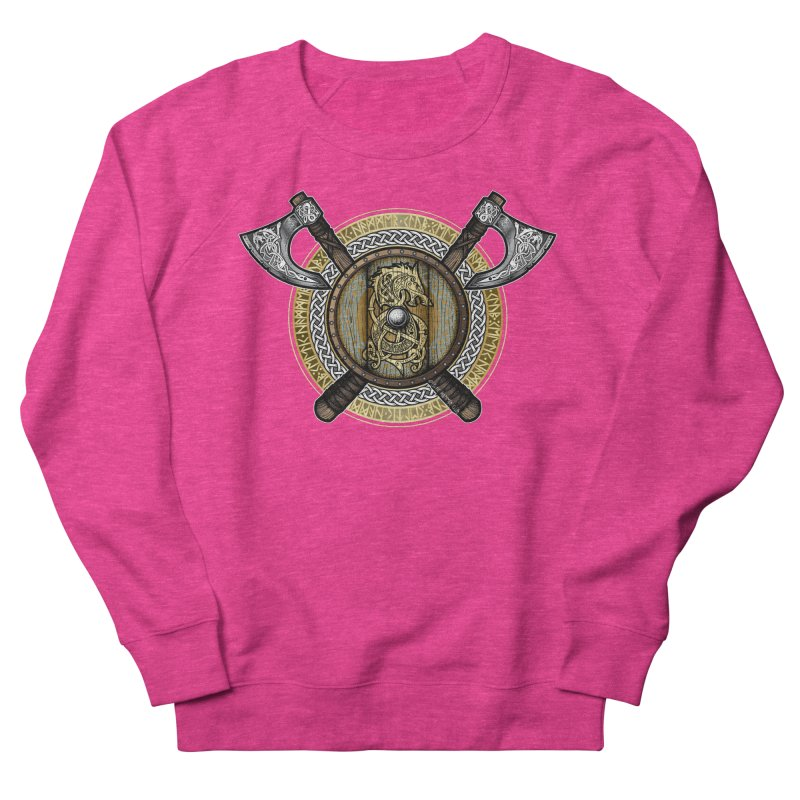 Fenrir Viking Shield (Full Color) Women's French Terry Sweatshirt by Celtic Hammer Club Apparel