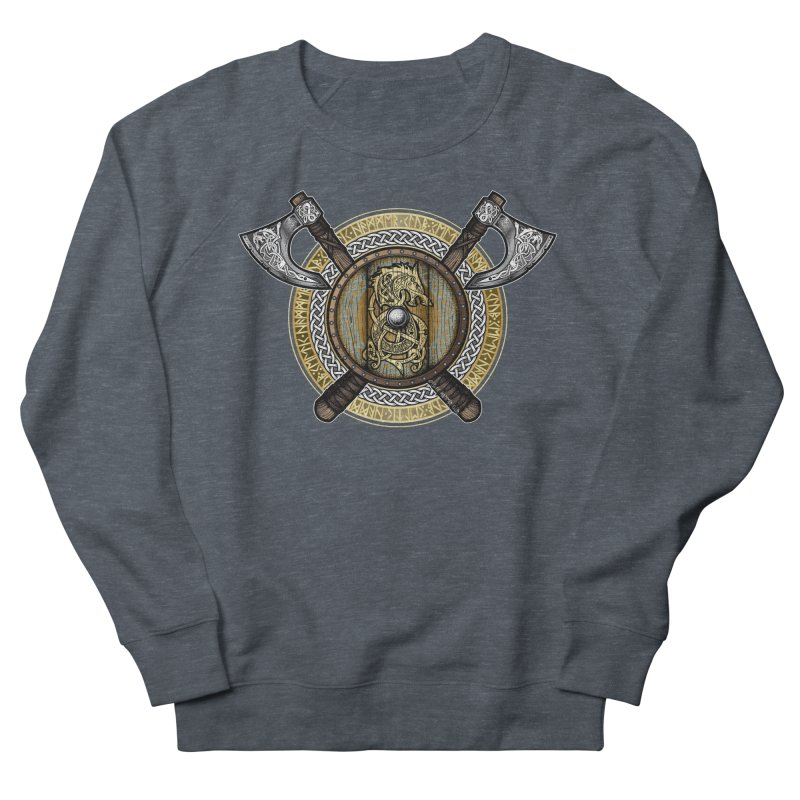 Fenrir Viking Shield (Full Color) Men's French Terry Sweatshirt by Celtic Hammer Club