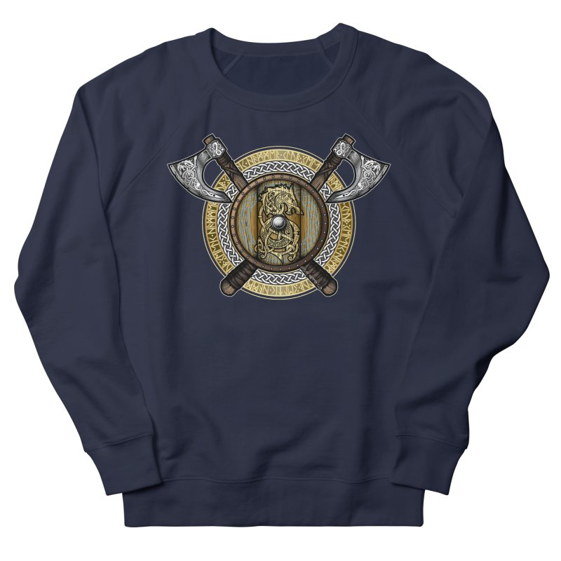 Fenrir Viking Shield (Full Color) Men's French Terry Sweatshirt by Celtic Hammer Club Apparel