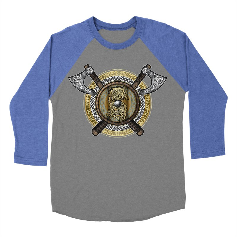 Fenrir Viking Shield (Full Color) Women's Baseball Triblend Longsleeve T-Shirt by Celtic Hammer Club