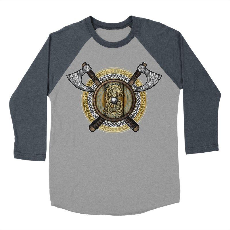 Fenrir Viking Shield (Full Color) Women's Baseball Triblend Longsleeve T-Shirt by Celtic Hammer Club Apparel